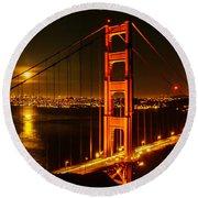 San Francisco Golden Gate Bridge At Night Round Beach Towel