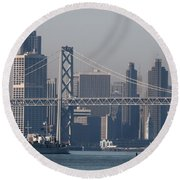 San Francisco Past The Bay Bridge Round Beach Towel