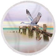Sandhill Crane And Old Dock Round Beach Towel