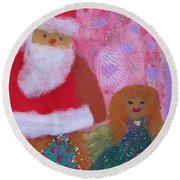 Santa Claus And Guardian Angel - Pintoresco Art By Sylvia Round Beach Towel