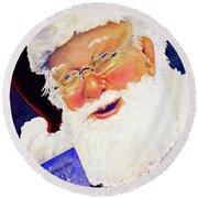 Santa Knows Round Beach Towel