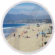 Santa Monica Beach Round Beach Towel