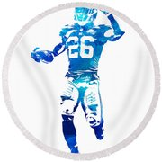 Saquon Barkley New York Giants Water Color Pixel Art 10 Round Beach Towel