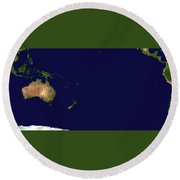 Satellite Image Of Oceania, Australasia And South-eastern Asia Round Beach Towel by Celestial Images