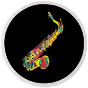 Saxophone Music Instrument Gift For Musician Color Designed Round Beach Towel