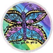 Say Yes To Your Soul Round Beach Towel