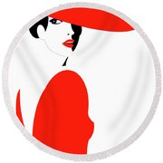 Lady In Red Round Beach Towel