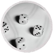 Scattered Dices Round Beach Towel
