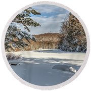Scenic Moose River Round Beach Towel by Rod Best