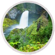 Scenic View Of Waterfall, Portland Round Beach Towel