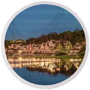 Schuylkill At Night - Boathouse Row Round Beach Towel by Bill Cannon
