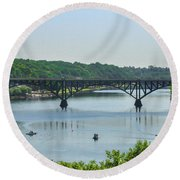Schuylkill River View - Strawberry Mansion Bridge Round Beach Towel