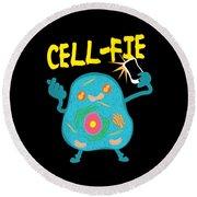 Science Nerd Shirt Cellfie Dad Joke Round Beach Towel