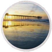 Scripps Pier Golden Hour 1 Round Beach Towel