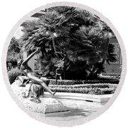 Sculpture Getty Villa Black White  Round Beach Towel