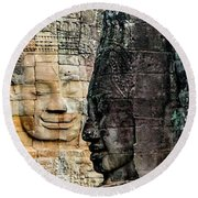 Sculptures At Bayon Temple, Angkor Round Beach Towel
