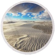 Sea Of Sand - Endless Dunes At White Sands New Mexico Round Beach Towel