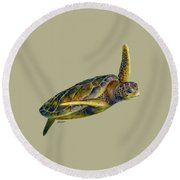Sea Turtle 2 - Solid Background Round Beach Towel