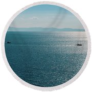 Sea With Two Boats Round Beach Towel
