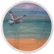 Seagull At Dusk Round Beach Towel