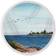 Seagulls Over Lighthouse Cove Round Beach Towel