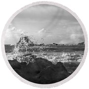 Seascape In Black And White Round Beach Towel