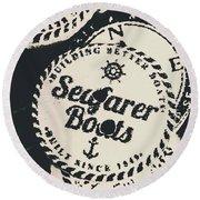 Seaside Sailors Badge Round Beach Towel