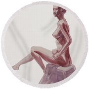 Seated Nude Woman Watercolor Round Beach Towel