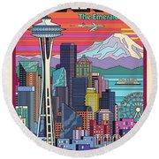 Seattle Poster - Pop Art Skyline Round Beach Towel