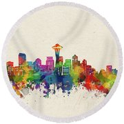 Seattle Skyline Watercolor Round Beach Towel
