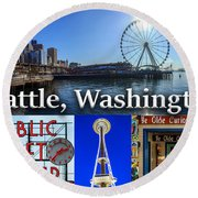 Seattle Washington Waterfront 01 Round Beach Towel