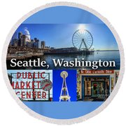 Seattle Washington Waterfront 01 Round Beach Towel