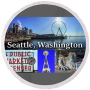 Seattle Washington Waterfront 02 Round Beach Towel