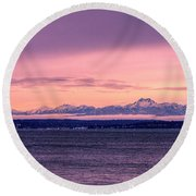 Seattle's Olympic Mountains Round Beach Towel