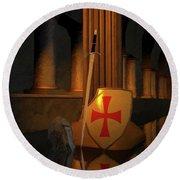 Secret Of The Knights Templar Round Beach Towel