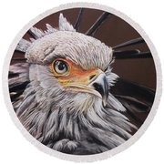 Secretary Bird Round Beach Towel