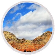 Sedona Jack's Trail Blue Sky, Clouds Red Rock Hills 5032 3 Round Beach Towel