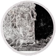 Self In Black Coloured Oil Transfer Drawing 11 Round Beach Towel