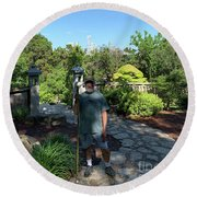 Self Portrait 20 - Aligned With A Half Moon Over Downtown Austin At Zilker Botanical Garden Round Beach Towel