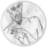 Self-portrait Pencil Reach 11 Round Beach Towel