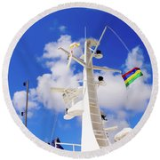 Semi-large Ship's Radar Tower And Headlights. Round Beach Towel