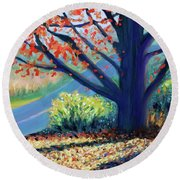 Sentinel By The Road Round Beach Towel