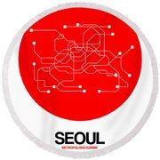 Seoul Red Subway Map Round Beach Towel