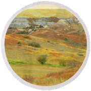 September In The Realm Of West Dakota Round Beach Towel