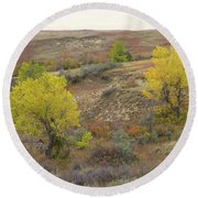 September Trees Reverie Round Beach Towel