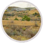 September's Golden Treasure Round Beach Towel