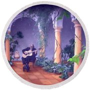 Sergovia In A Spanish Garden Round Beach Towel