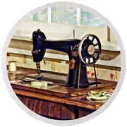 Sewing Machine In Kitchen Round Beach Towel