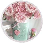 Shabby Chic Pink Roses In Aqua Mason Jar Romantic Cottage Floral Print Home Decor Round Beach Towel