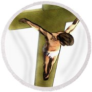Shadow Of The Cross Round Beach Towel